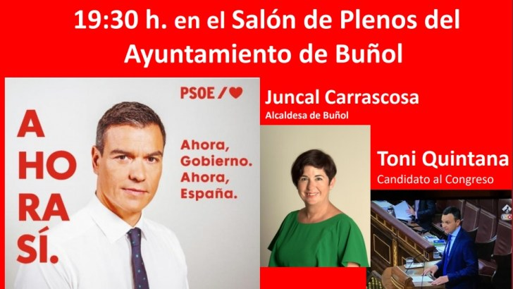 El PSOE de Buñol celebra un mitin electoral de cara a las elecciones del 10N este martes