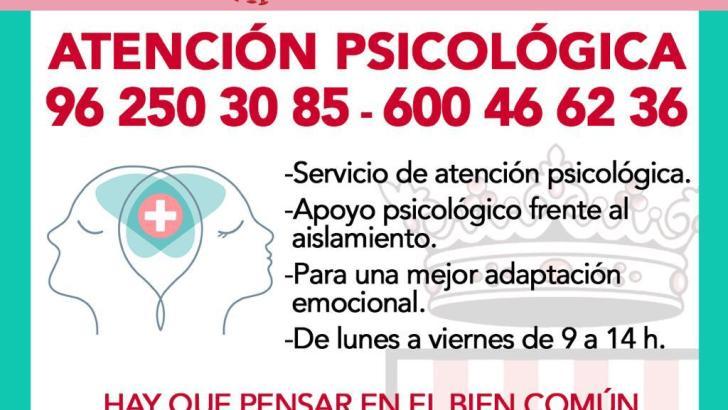 El Ayuntamiento de Buñol pone en marcha un servicio telefónico de apoyo psicológico a la ciudadanía