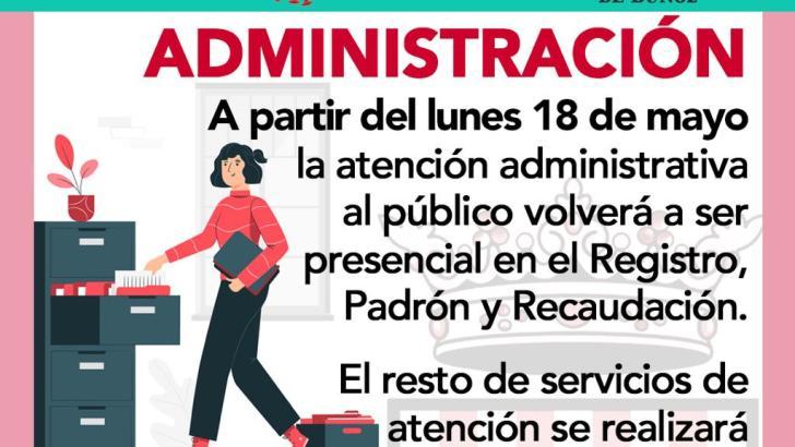 El hall del Ayuntamiento de Buñol contará con los servicios de atención, padrón, recaudación y registro de entrada en Fase 1