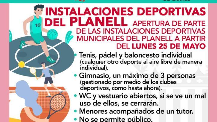 La Concejalía de Deportes del Ayuntamiento de Buñol abrirá las instalaciones de «El Planell» el lunes