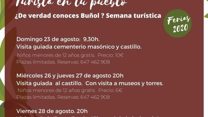 """La concejalía de Turismo de Buñol organiza """"Turista en tu pueblo», una semana repleta de actividades"""
