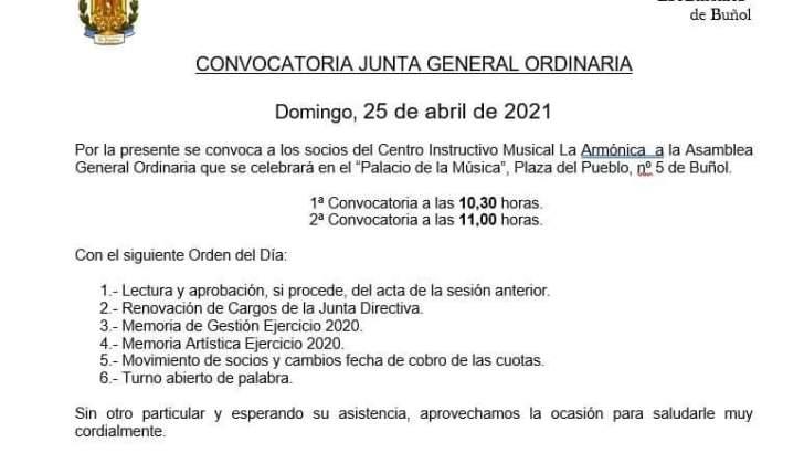 «La Armónica» de Buñol celebra su Junta General este domingo