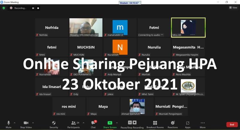 Online Sharing 23 Oktober 2021