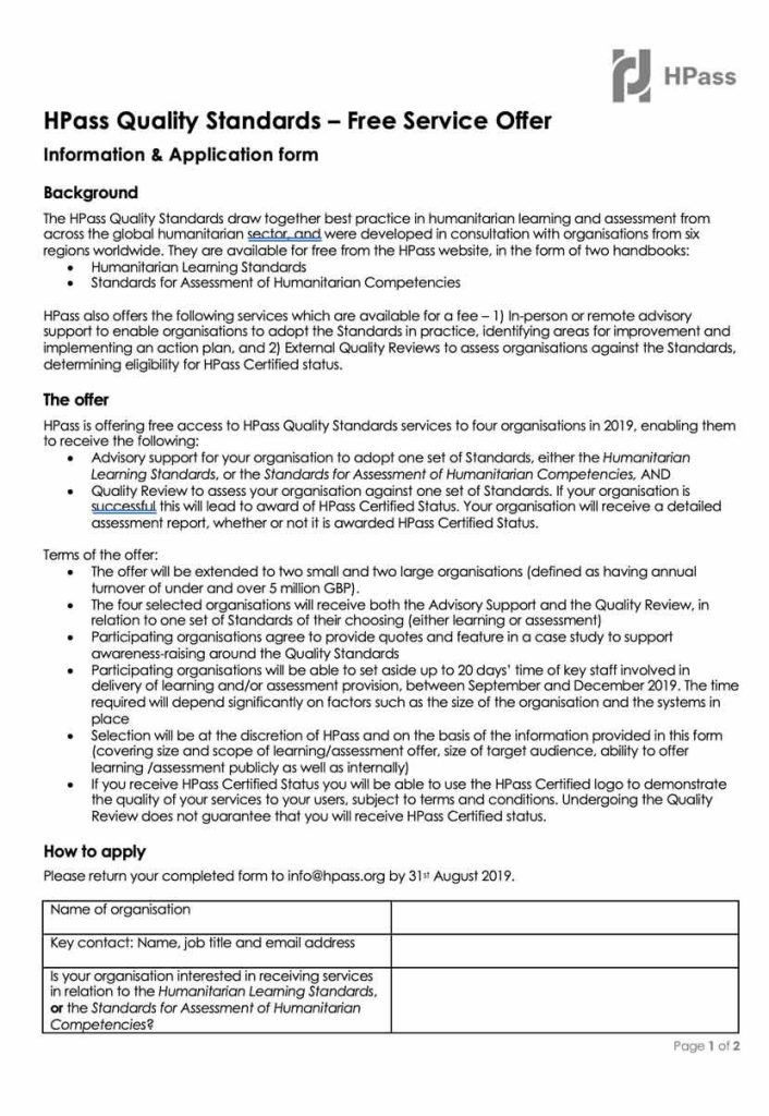 Application from for Quality Standards, click to download