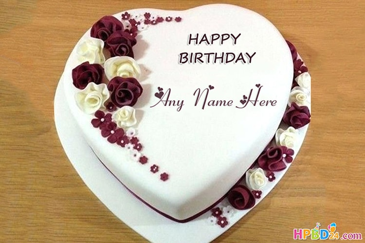Romantic Heart Shaped Birthday Cake With Name Edit