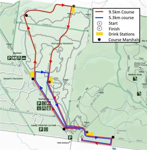 The Trailblazer You Yangs Trail Run Series 2016 - Race 2 Course Map