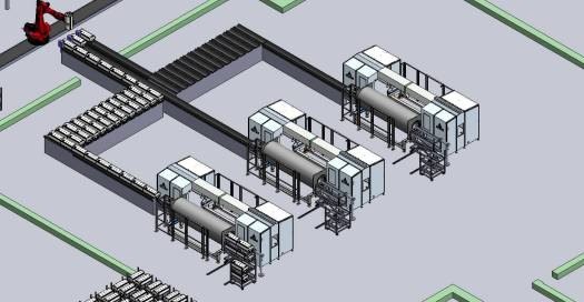 3 hpp machines are side by side with a conveyor on the process side that joins all 3 machines together.  The bar codes on the baskets are read and indexed so that they goto the correct pack off line.