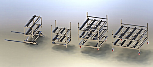Stainless steel  carts for transporting and loading HPP baskets onto and off of HPP Machine.  The first picture shows a 2 basket vertical scissor lift with a single basket on each row that is on rails to move left to right, the second picture is 4 basket stationary cart with 2 rows of 2 baskets, the third picture is a 6 basket cart with 2 rows of 3 baskets that has a scissor lift for moving the baskets up and down to load baskets onto the HPP conveyor, the fourth cart is an 8 basket cart with 2 rows of 4 baskets and casters.