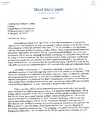 First page of Senator Al Frankens letter to FBI concerning its investigations into No DAPL activists
