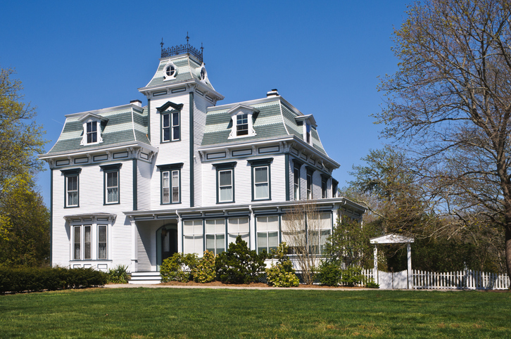 """""""With its mansard roof, dormers and large first and second floor windows this well restored Second Empire Victorian Home (1874) in southeastern Massachusetts shows pride of ownership"""""""