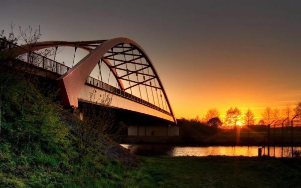 Овальный мост через пруд обои для рабочего стола, картинки ...