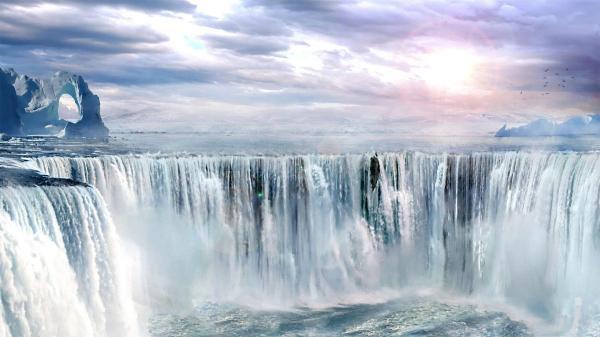 Небо море водопад обои для рабочего стола картинки
