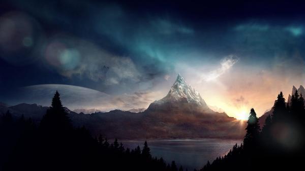 Ночь, луна, закат, лес, горы обои для рабочего стола ...