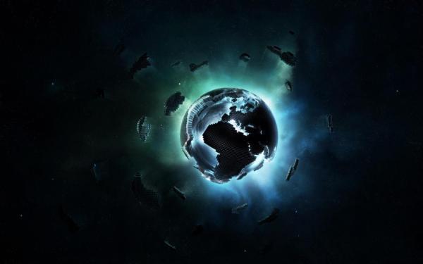 Электронная планета состоящая из матриц обои для рабочего ...