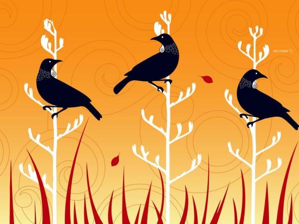 Векторные стилизованные птицы на ветках дерева обои для ...