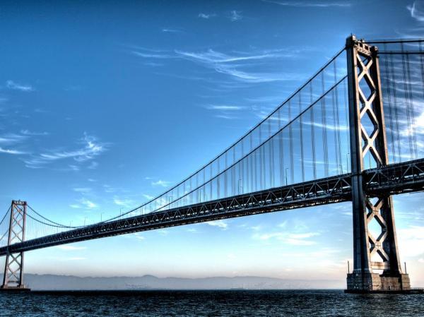 Длинный мост через пролив, с мостом обои для рабочего ...