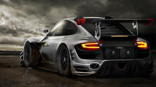Porsche, тюнинг, серый, молния, автомобили, машины, авто ...