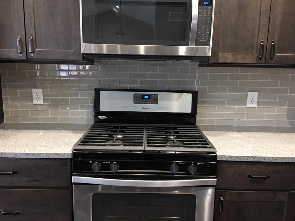 kitchen subway tile backsplash gray
