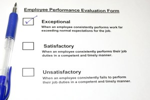 Performance Management: an employee evaluation form.
