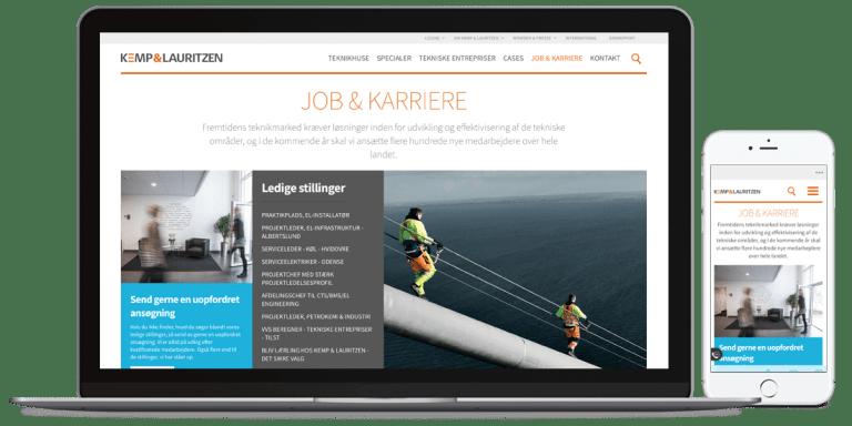Kemp&Lauritzens job karriere side på mobil og desktop version