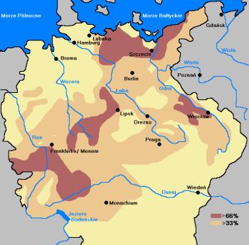 Wojna trzydziestoletnia. Mapa konturowa pokazują obszary na terenie Rzeszy Niemieckiej dotknięte w największym stopniu przez straty ludnościowe.