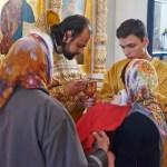 Богослужение в Храме Вознесения Господня в деревне Тешилово 22 июня 2014 года. Причастие