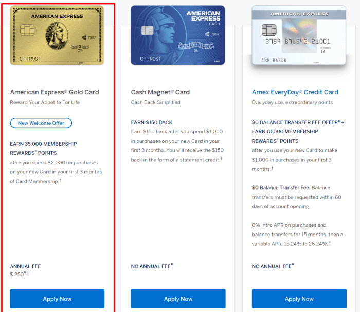 Apply for a American Express Gold Credit Card Online