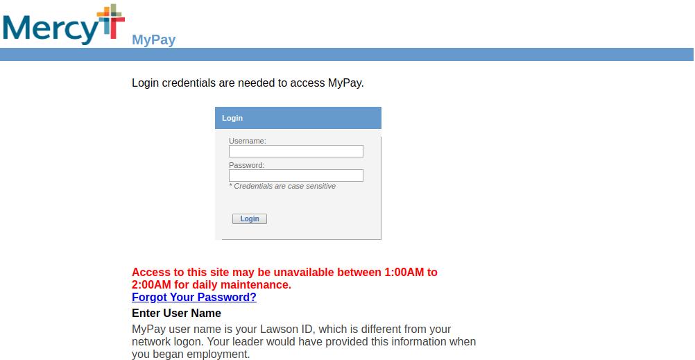 MyPay Mercy Login