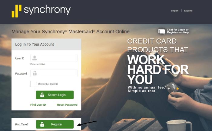 Synchrony Financial Credit Card Register