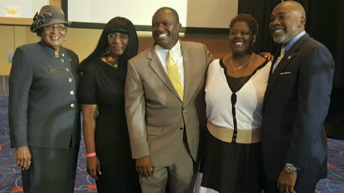 Pictured from left to right: Congresswoman Alma Adams; Charlotte NAACP President, Corine Mack,  County Commissioner Trevor M. Fuller, Councilwoman LaWana Mayfield, and Councilman Al Austin
