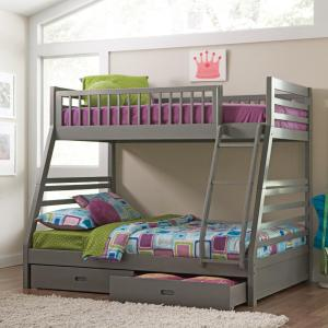 Trendy Gray Twin over Full Bunk Bed Set