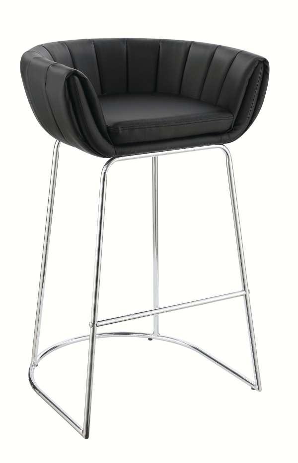 Wondrous Scott Living Black Leather Bar Stool With Chromed Steel Base Creativecarmelina Interior Chair Design Creativecarmelinacom