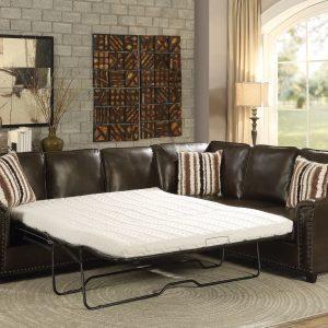 Dark Brown Sectional Sofa with Sleeper