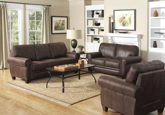 Traditional Brown Loveseat