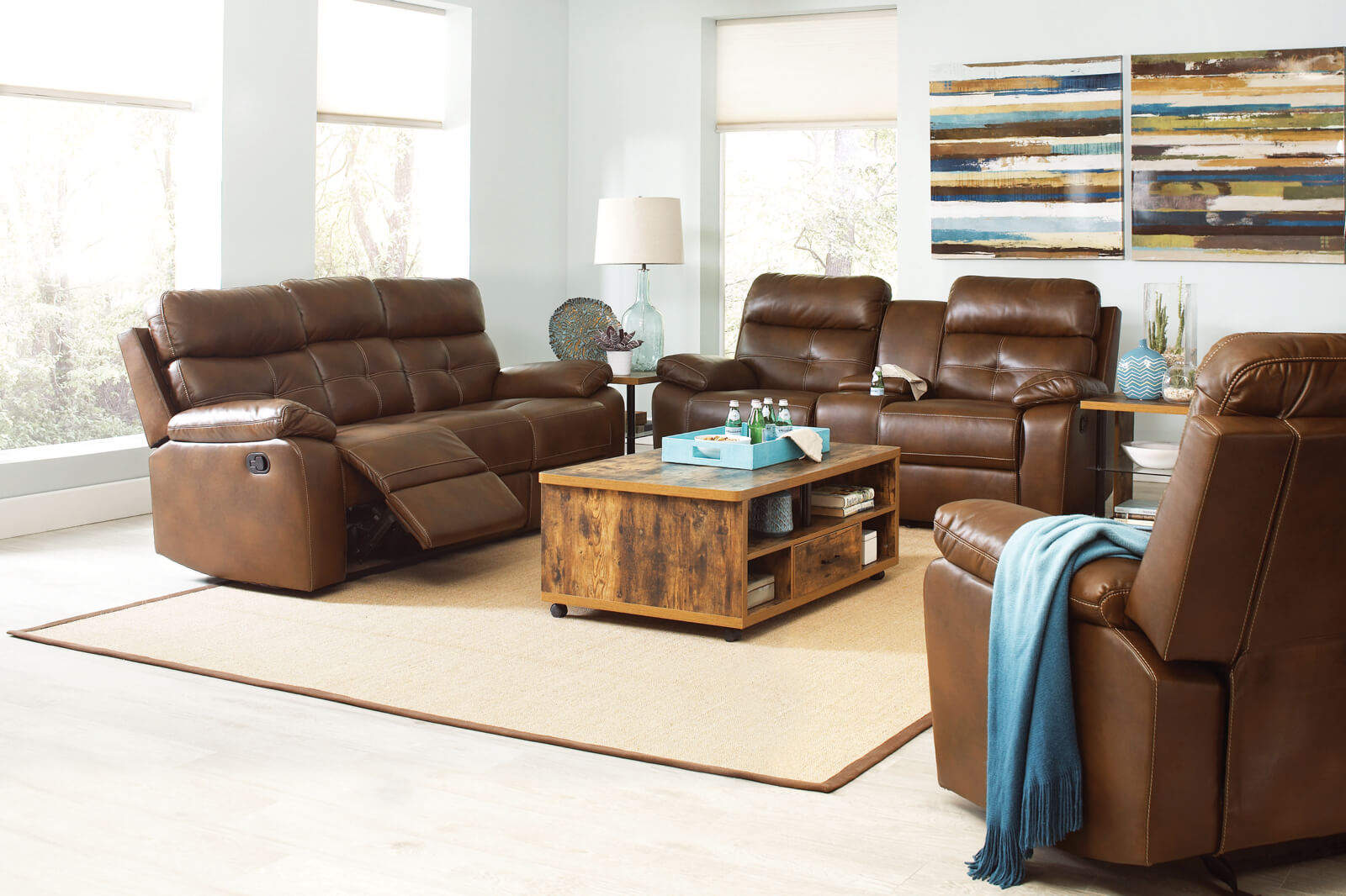 Brown Faux Leather Motion Sofa - HRC Furniture