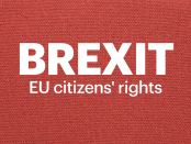 With red background, the words Brexit EU Citizens' rights