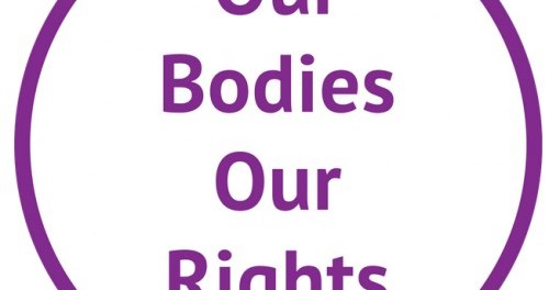 Purple circle with text Our bodies Our rights in the middle