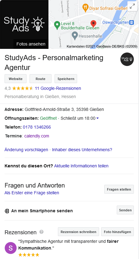Agentur StudyAds Google my Business
