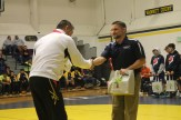 Kroll, HRV Spanish teacher and coach, shaking hands firmly with the Japanese National Wrestling Coach at the Cultural Exchange Wrestling Tournament. This was one unforgettable exciting night!