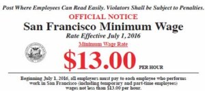 San Francisco Minimum Wage Required Poster July 1