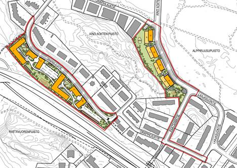 The change in the town plan also applies to Orapihlajatie.  Apartment buildings rise along the railway line.