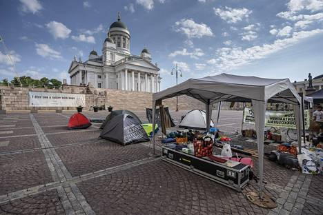 There were about 15 protesters on site at Senate Square on Monday.