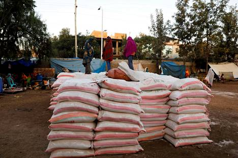 Stacked food aid sacks at Tsehaye Elementary School, Tigray, Shire, in March 2021. The school was made a temporary shelter for those fleeing their homes due to the conflict.