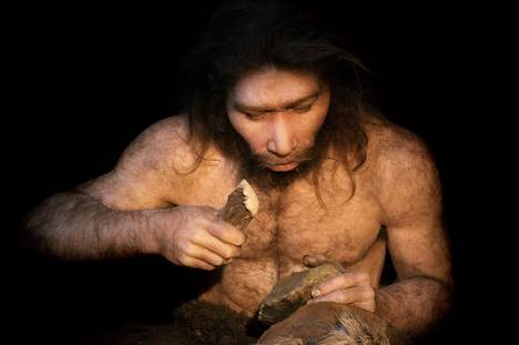 Neanderthals, among other things, buried the dead, painted cave paintings, and snapped decorations on the bones.  Reconstruction of Neanderthal man.