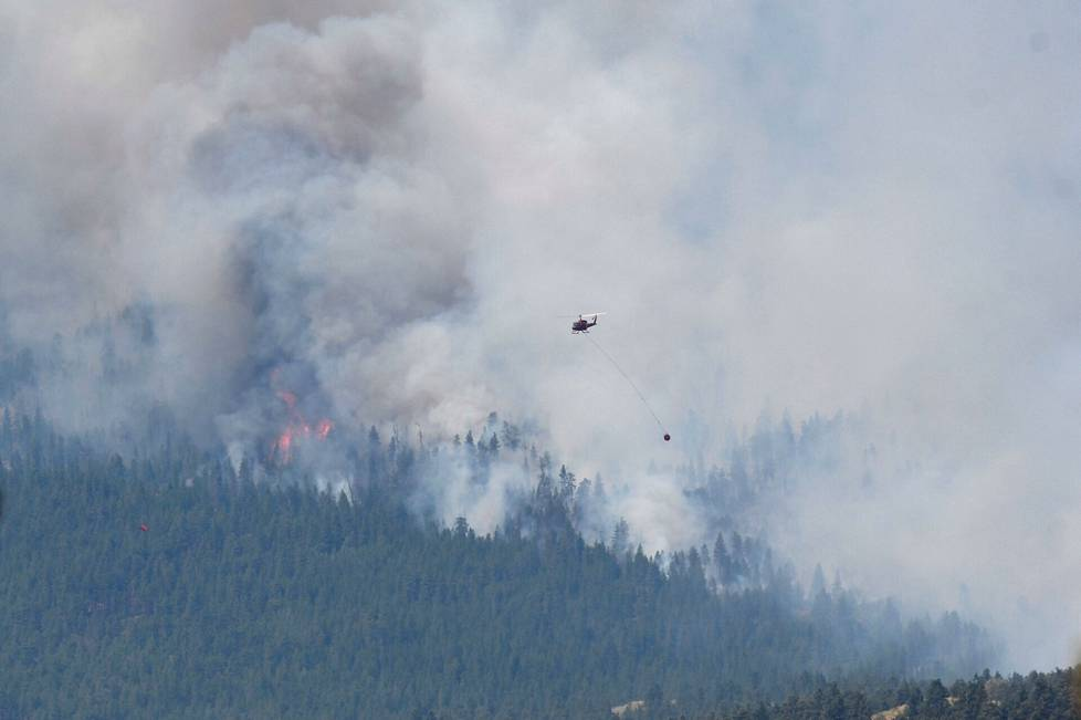 Helicopter over a forest fire in Lytton, Canada on Thursday.