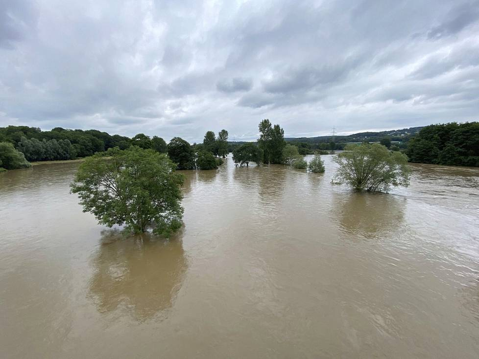 The German Ruhr River was full to the brim on Thursday.