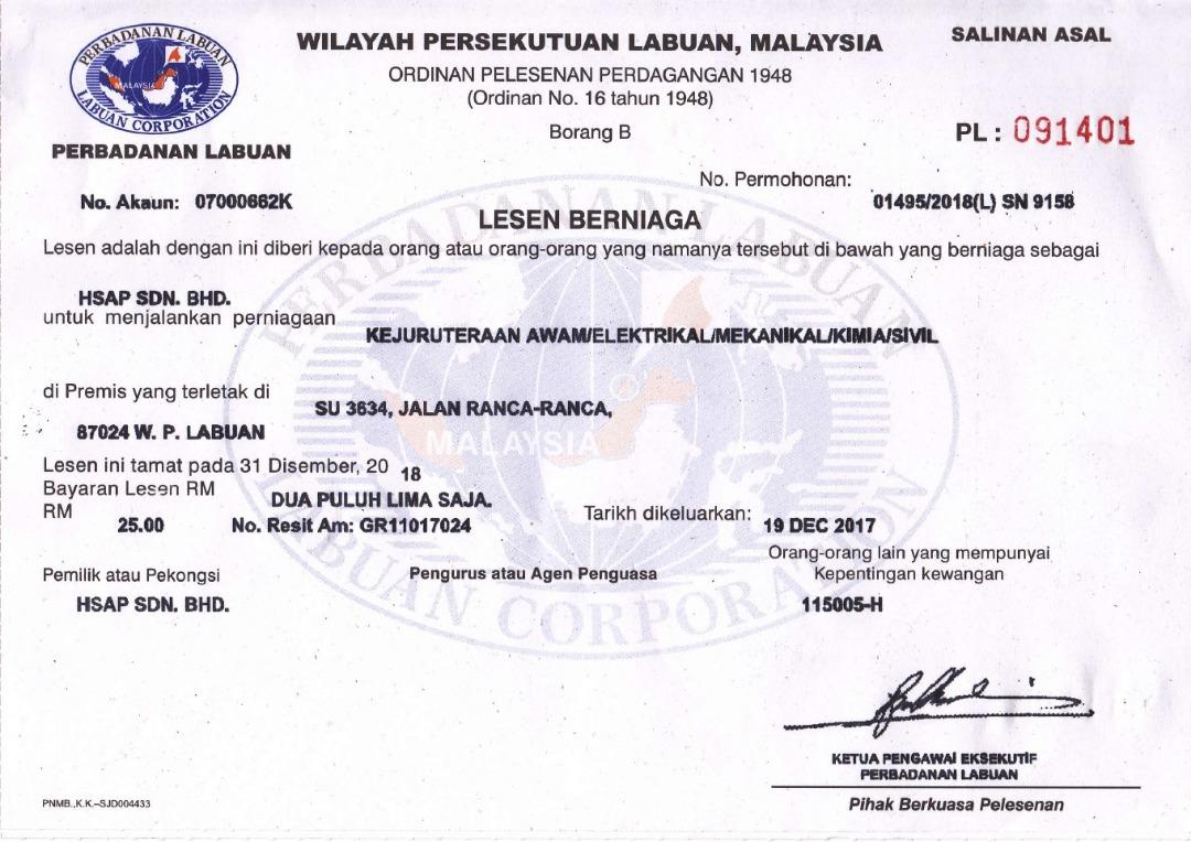 License Hsap Sdn Bhd