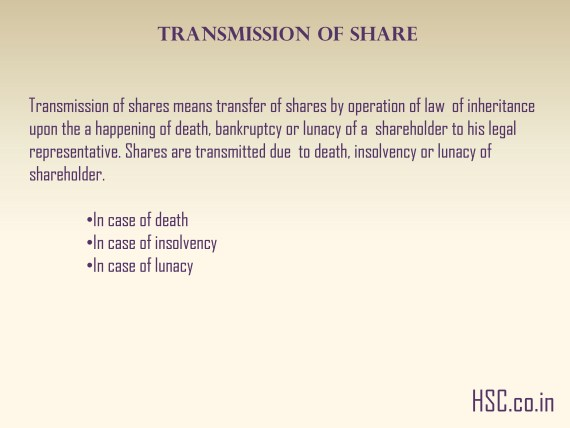 Transmission of share