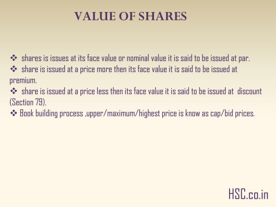 VALUE OF SHARES
