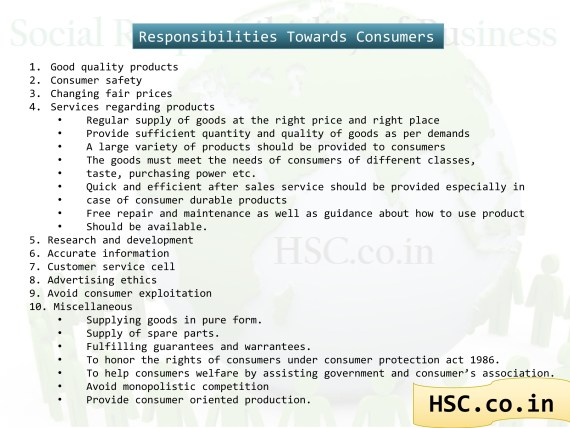 responsibility to consumers